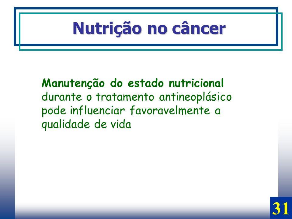 Nutrição no câncer Manutenção do estado nutricional durante o tratamento antineoplásico pode influenciar favoravelmente a qualidade de vida 31