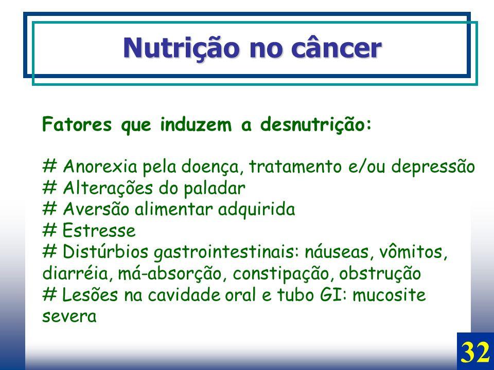 Nutrição no câncer Fatores que induzem a desnutrição: # Anorexia pela doença, tratamento e/ou depressão # Alterações do paladar # Aversão alimentar ad
