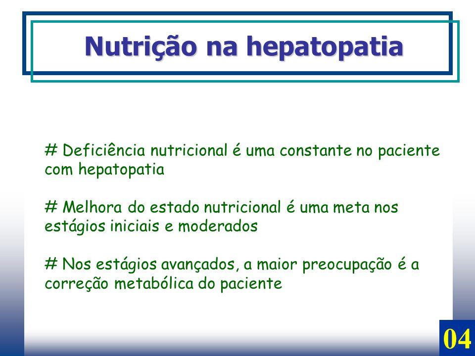 # Deficiência nutricional é uma constante no paciente com hepatopatia # Melhora do estado nutricional é uma meta nos estágios iniciais e moderados # N