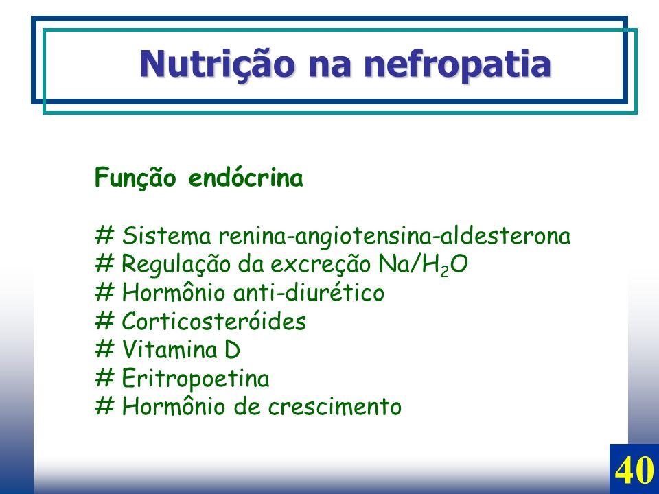 Nutrição na nefropatia Função endócrina # Sistema renina-angiotensina-aldesterona # Regulação da excreção Na/H 2 O # Hormônio anti-diurético # Cortico