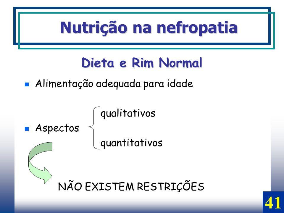 Dieta e Rim Normal Alimentação adequada para idade qualitativos Aspectos quantitativos NÃO EXISTEM RESTRIÇÕES Nutrição na nefropatia 41