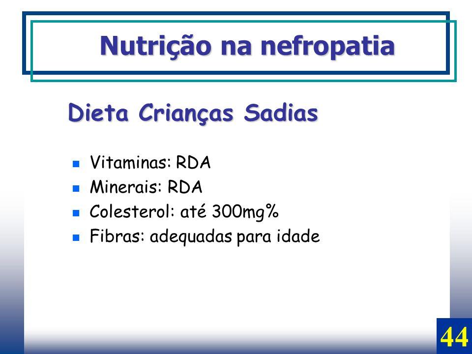 Vitaminas: RDA Minerais: RDA Colesterol: até 300mg% Fibras: adequadas para idade Nutrição na nefropatia Dieta Crianças Sadias 44