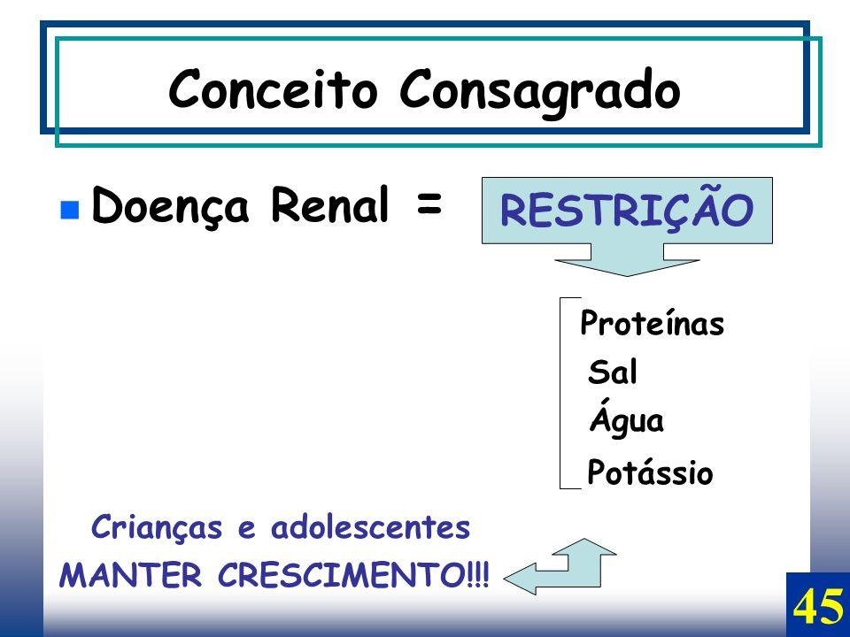Conceito Consagrado Doença Renal = Proteínas Sal Água Potássio Crianças e adolescentes MANTER CRESCIMENTO!!! RESTRIÇÃO 45