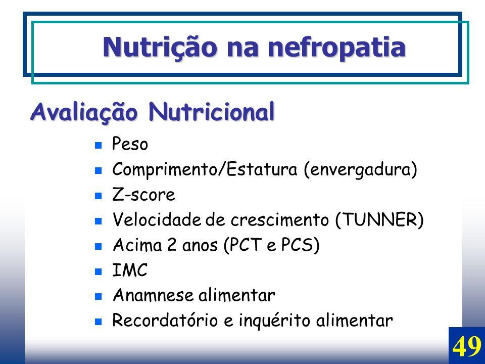 Avaliação Nutricional Peso Comprimento/Estatura (envergadura) Z-score Velocidade de crescimento (TUNNER) Acima 2 anos (PCT e PCS) IMC Anamnese aliment