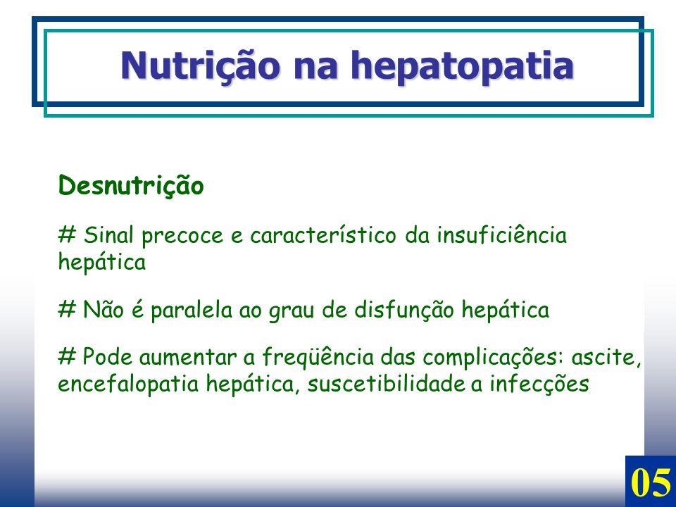 Desnutrição # Sinal precoce e característico da insuficiência hepática # Não é paralela ao grau de disfunção hepática # Pode aumentar a freqüência das