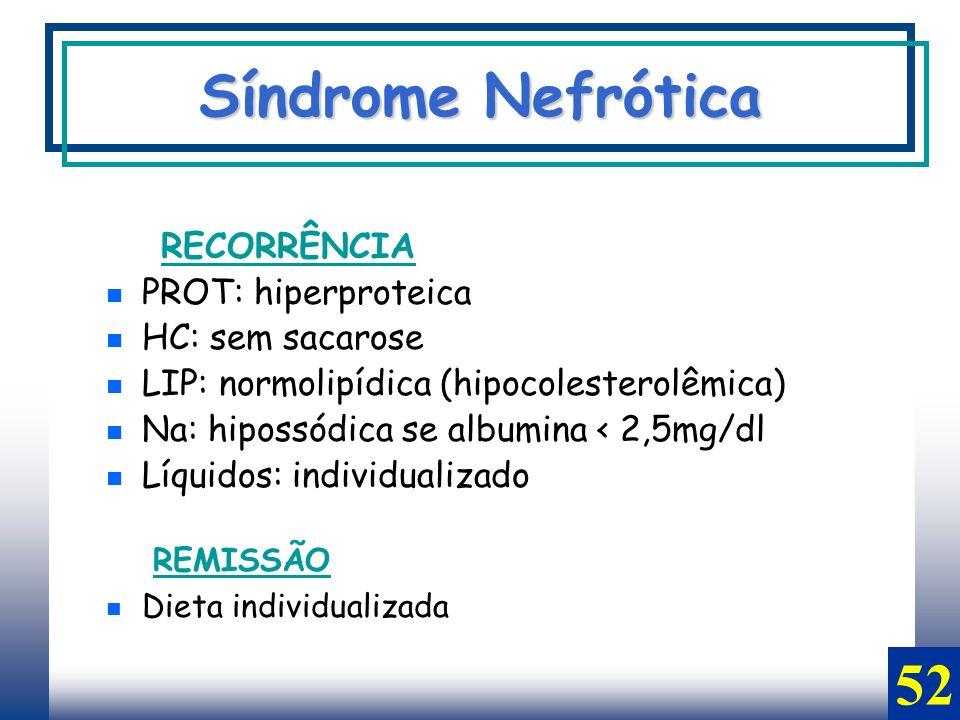 RECORRÊNCIA PROT: hiperproteica HC: sem sacarose LIP: normolipídica (hipocolesterolêmica) Na: hipossódica se albumina < 2,5mg/dl Líquidos: individuali
