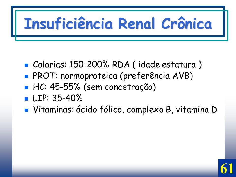 Calorias: 150-200% RDA ( idade estatura ) PROT: normoproteica (preferência AVB) HC: 45-55% (sem concetração) LIP: 35-40% Vitaminas: ácido fólico, comp