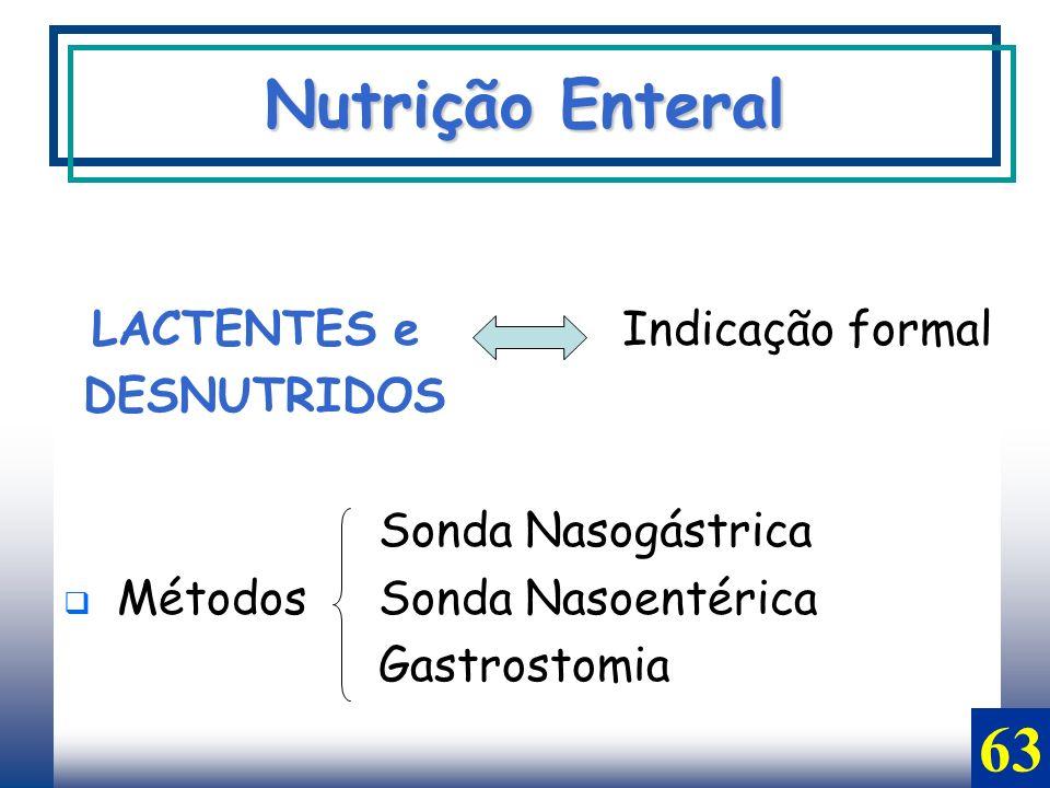 LACTENTES e Indicação formal DESNUTRIDOS Sonda Nasogástrica Métodos Sonda Nasoentérica Gastrostomia Nutrição Enteral 63