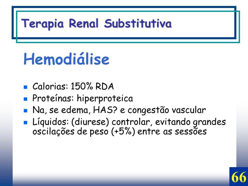Hemodiálise Calorias: 150% RDA Proteínas: hiperproteica Na, se edema, HAS? e congestão vascular Líquidos: (diurese) controlar, evitando grandes oscila
