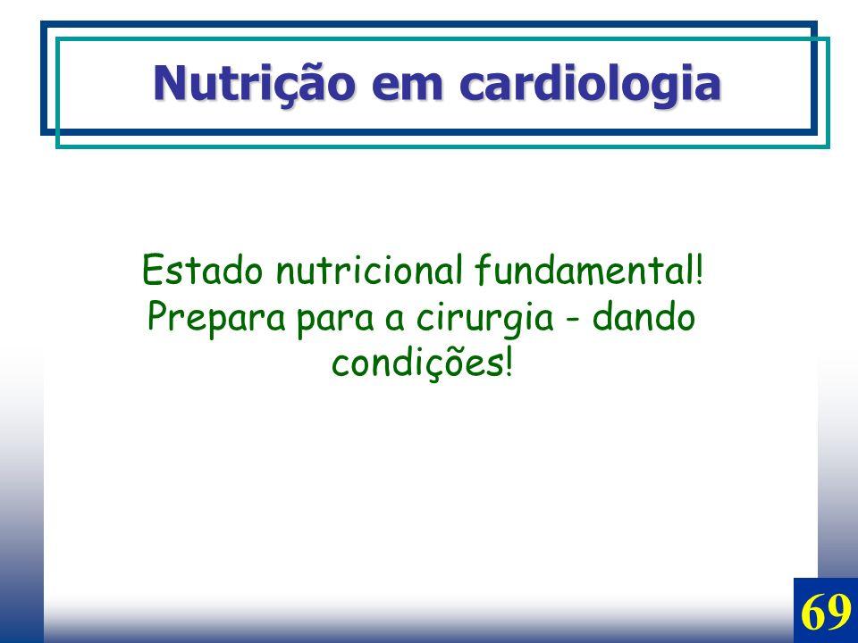 Nutrição em cardiologia Estado nutricional fundamental! Prepara para a cirurgia - dando condições! 69