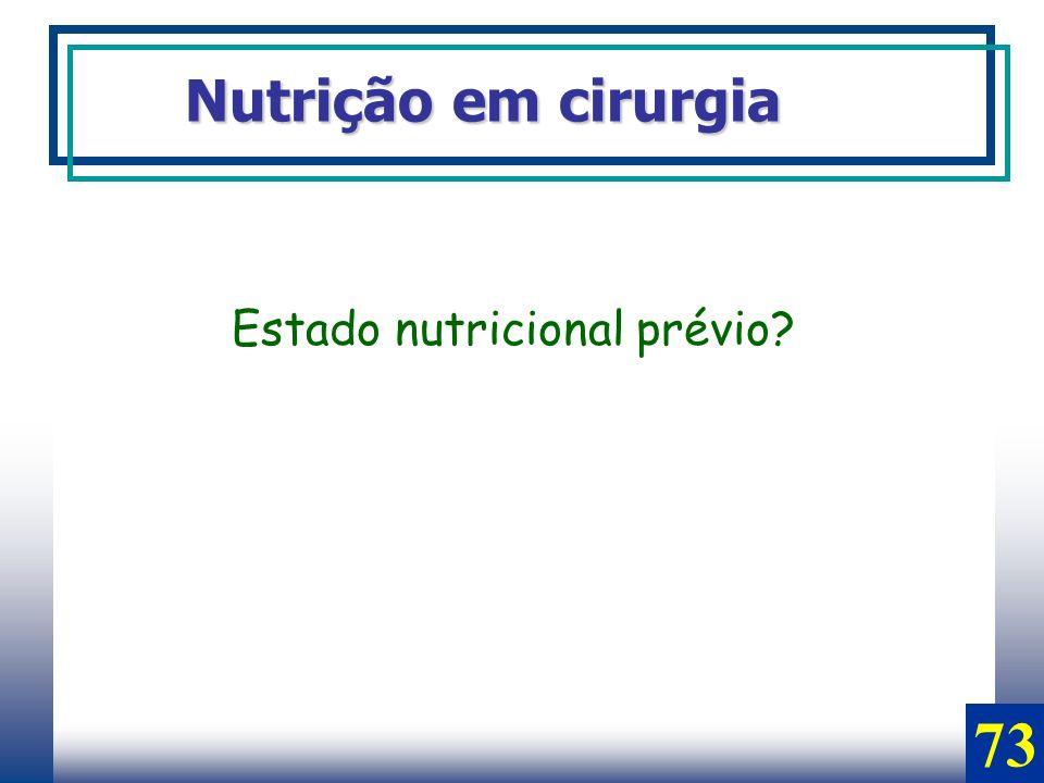 Nutrição em cirurgia Estado nutricional prévio? 73