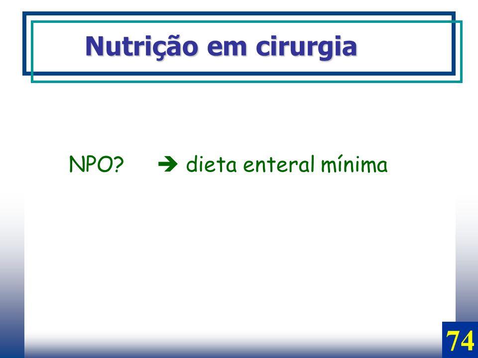 Nutrição em cirurgia NPO? dieta enteral mínima 74