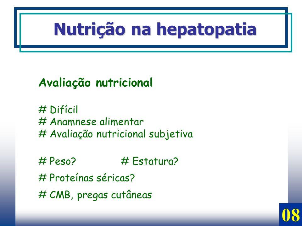 Avaliação nutricional # Difícil # Anamnese alimentar # Avaliação nutricional subjetiva # Peso? # Estatura? # Proteínas séricas? # CMB, pregas cutâneas
