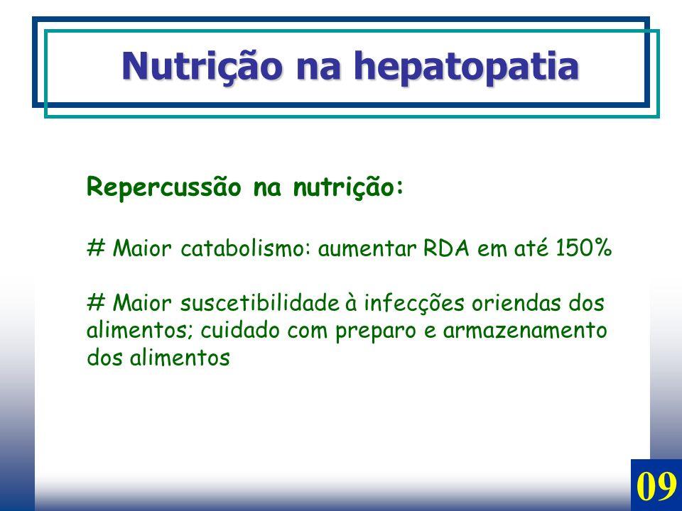 Repercussão na nutrição: # Maior catabolismo: aumentar RDA em até 150% # Maior suscetibilidade à infecções oriendas dos alimentos; cuidado com preparo
