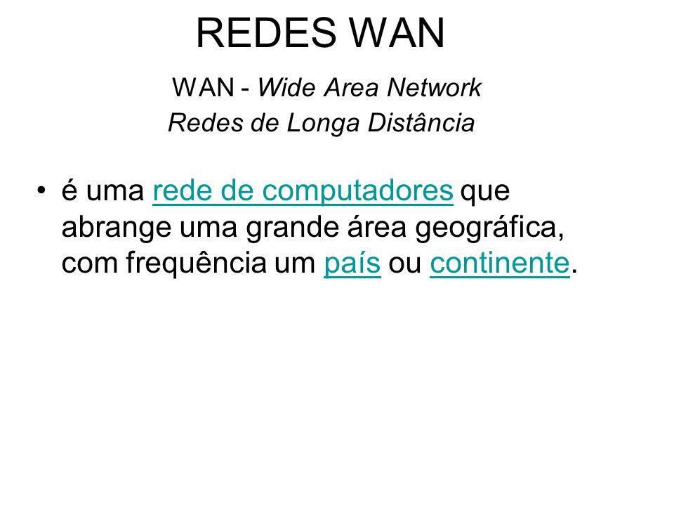 REDES WAN WAN - Wide Area Network Redes de Longa Distância é uma rede de computadores que abrange uma grande área geográfica, com frequência um país o
