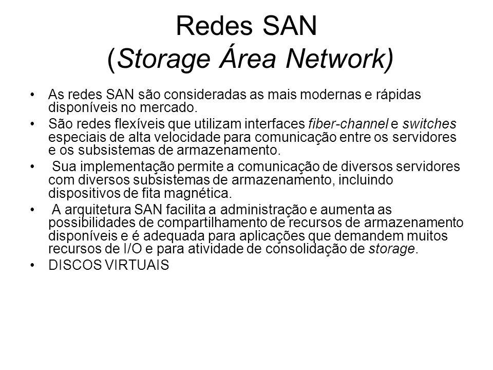 Redes SAN (Storage Área Network) As redes SAN são consideradas as mais modernas e rápidas disponíveis no mercado. São redes flexíveis que utilizam int