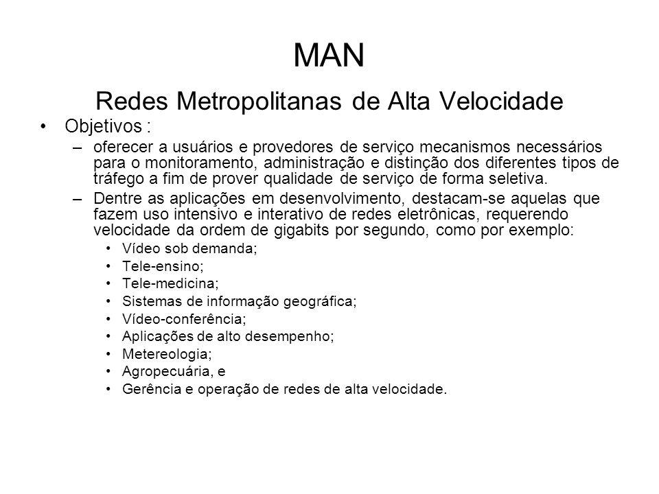 MAN Redes Metropolitanas de Alta Velocidade Objetivos : –oferecer a usuários e provedores de serviço mecanismos necessários para o monitoramento, admi