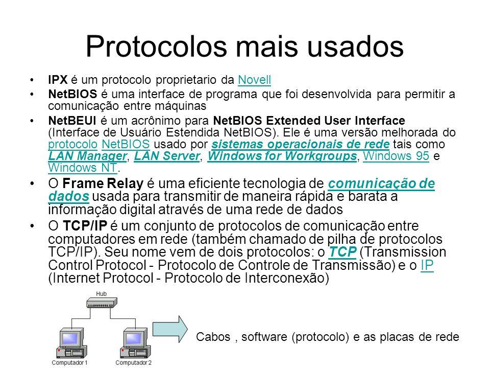 Protocolos mais usados IPX é um protocolo proprietario da NovellNovell NetBIOS é uma interface de programa que foi desenvolvida para permitir a comuni