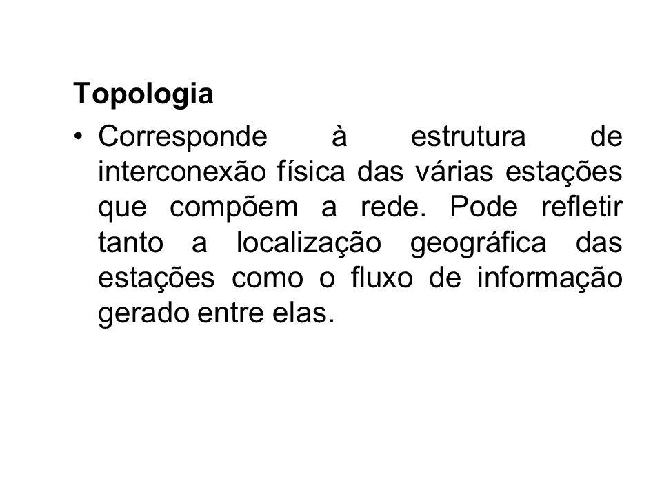 Topologia Corresponde à estrutura de interconexão física das várias estações que compõem a rede. Pode refletir tanto a localização geográfica das esta