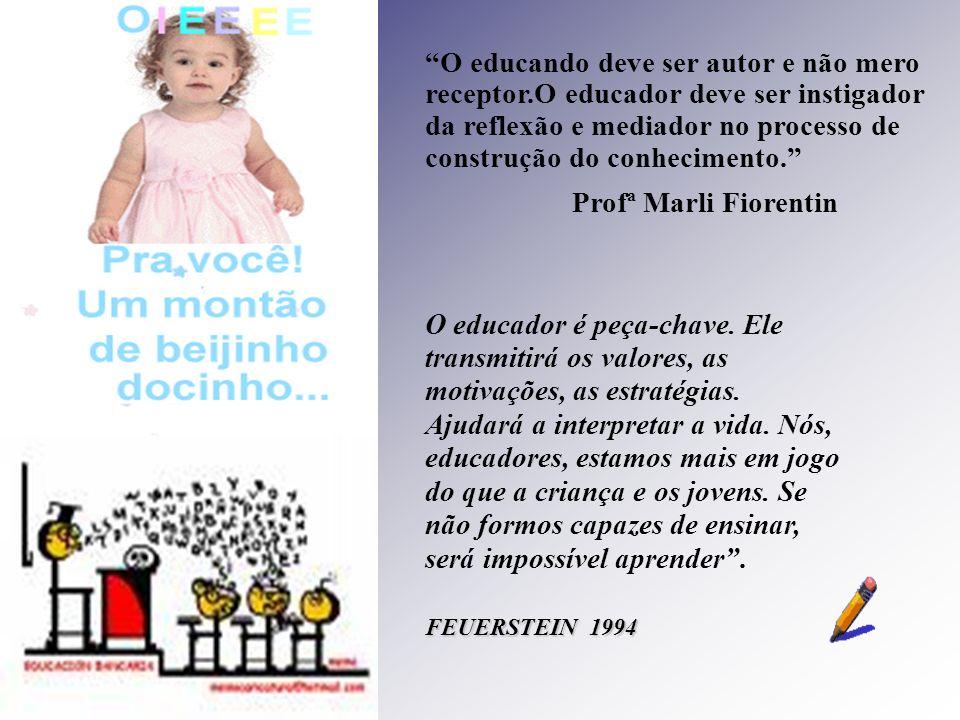 O educando deve ser autor e não mero receptor.O educador deve ser instigador da reflexão e mediador no processo de construção do conhecimento. Profª M