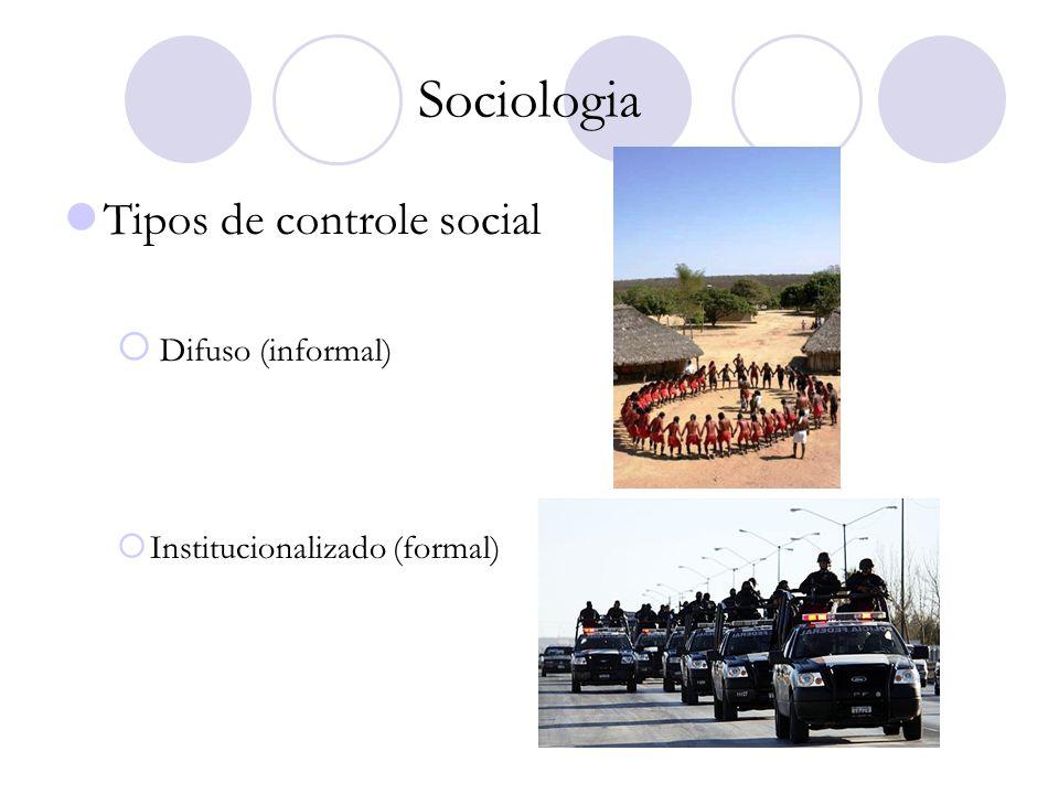 Sociologia Tipos de controle social Difuso (informal) Institucionalizado (formal)