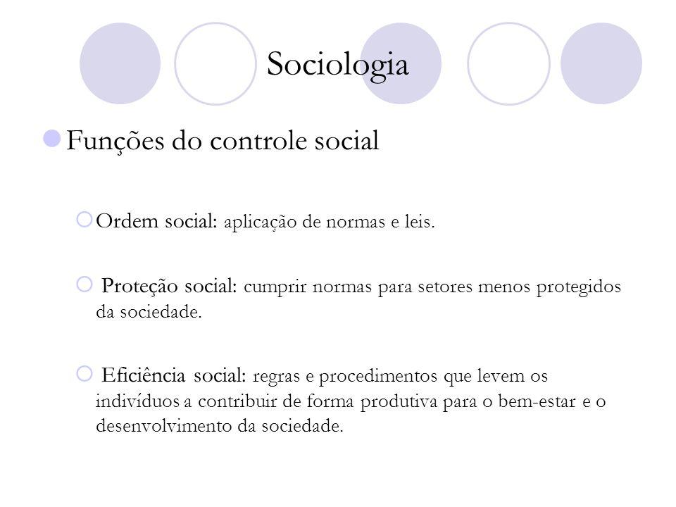 Sociologia Funções do controle social Ordem social: aplicação de normas e leis. Proteção social: cumprir normas para setores menos protegidos da socie