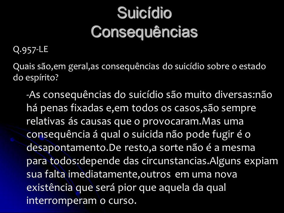 Suicídio Consequências Q.957-LE Quais são,em geral,as consequências do suicídio sobre o estado do espírito? -As consequências do suicídio são muito di