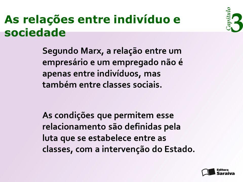 Capítulo 3 As relações entre indivíduo e sociedade De acordo com Marx, as pessoas constroem sua história, mas não da maneira que querem, pois os fatos são condicionados por situações anteriores.