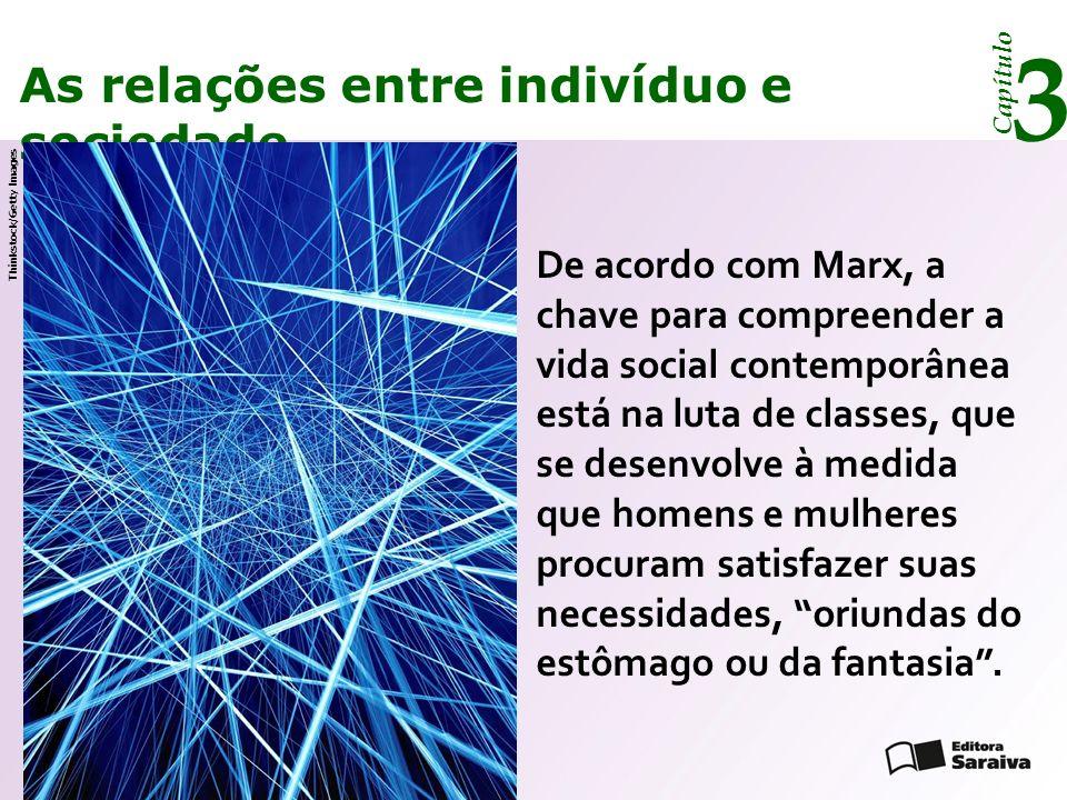 Capítulo 3 As relações entre indivíduo e sociedade Para superar a dicotomia entre indivíduo e sociedade, Elias formulou o conceito de configuração, que pode ser aplicado a pequenos grupos ou a sociedades inteiras, constituídas de pessoas que se relacionam.