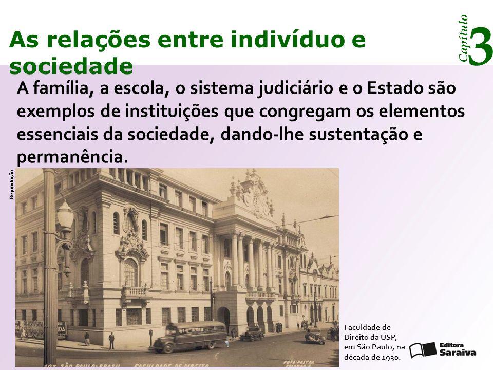 Capítulo 3 As relações entre indivíduo e sociedade Condicionado e controlado pelas instituições, cada membro de uma sociedade sabe como deve agir para não desestabilizar a vida comunitária.