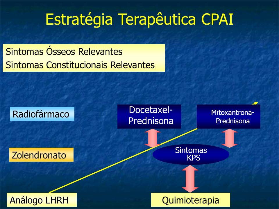 Sintomas Ósseos Relevantes Sintomas Constitucionais Relevantes Estratégia Terapêutica CPAI QuimioterapiaAnálogo LHRH Sintomas KPS Mitoxantrona- Predni