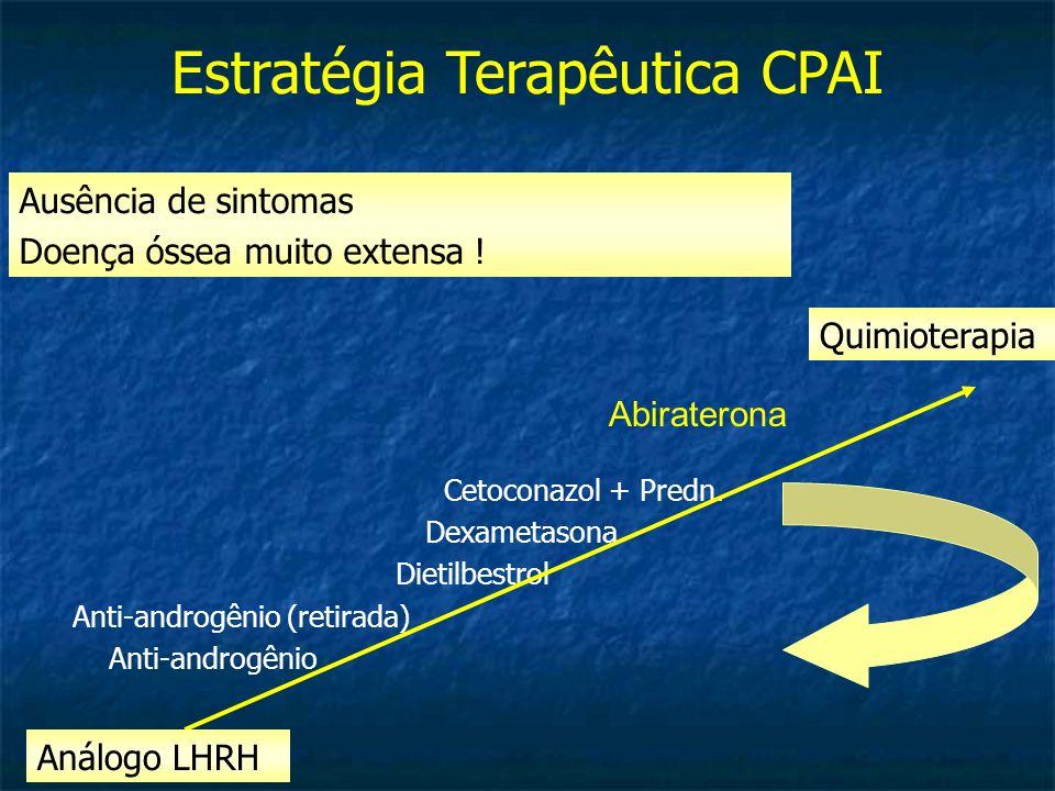 Cetoconazol + Predn. Dexametasona Dietilbestrol Anti-androgênio (retirada) Anti-androgênio Análogo LHRH Quimioterapia Estratégia Terapêutica CPAI Ausê