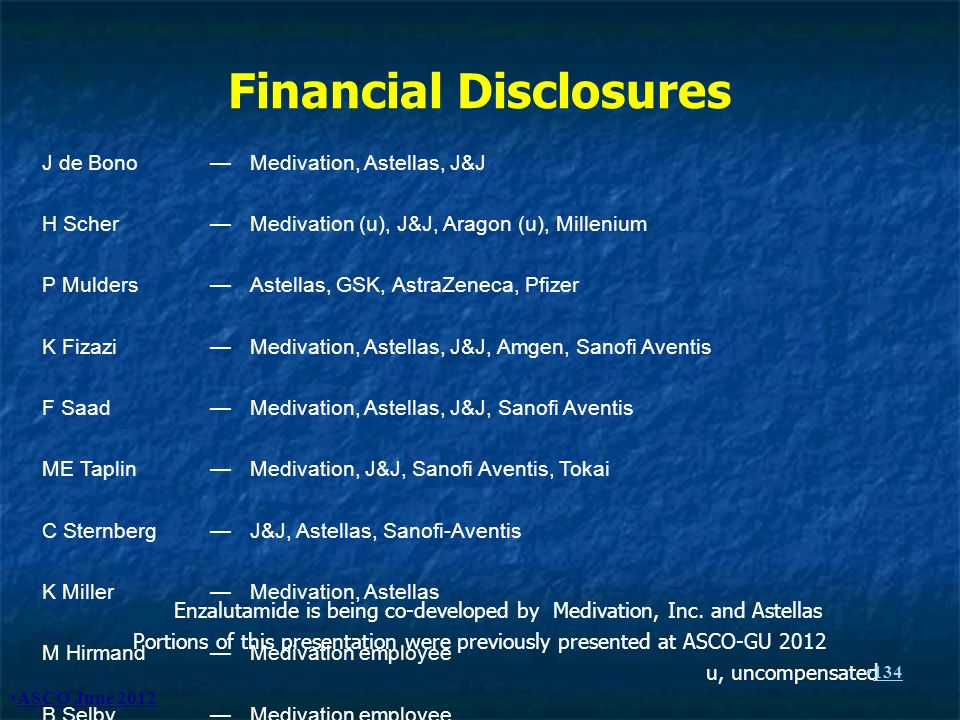Financial Disclosures Enzalutamide is being co-developed by Medivation, Inc. and Astellas Portions of this presentation were previously presented at A