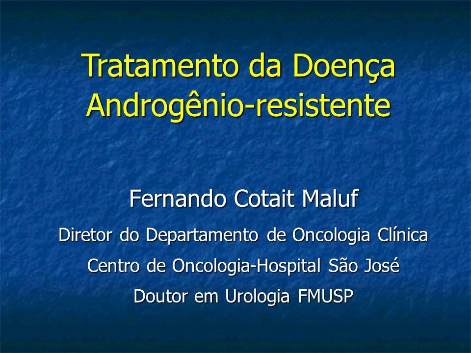 Ganho de Sobrevida em Câncer de Próstata Resistente a Castração Ponto de largada Docetaxel (2.9 m) Sipuleucel T (4.1 m) Alfaradin (3.6m) Cabazitaxel (2.4 m) Ponto de largada Abiraterona (4.6 m) Enzalutamida (4.8 m)