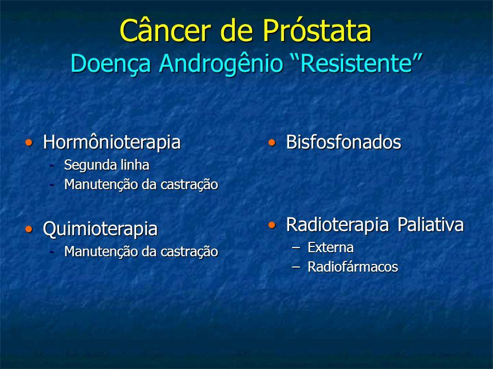 * 40% dos pacientes não haviam recebido docetaxel Agentes Relacionados a Ganho de SG no Câncer de Próstata Resistente a HT Pré Docetaxel Estudo/Data de Aprovação MecanismoComparaçãoSobrevida (meses)P Value Sipuleucel –T 2009Imunoterapia (PAP-GMCSF) Placebo25.8 vs 21.7 0.03 COU-AA-302 Abiraterona + Prednisona 2011 Inibidor CYP17Placebo + Prednisona NA vs 27.20.009 Alfaradin 2011* Radiofármaco emissor de partícula alfa Placebo14.9 vs 11.3 0.0018
