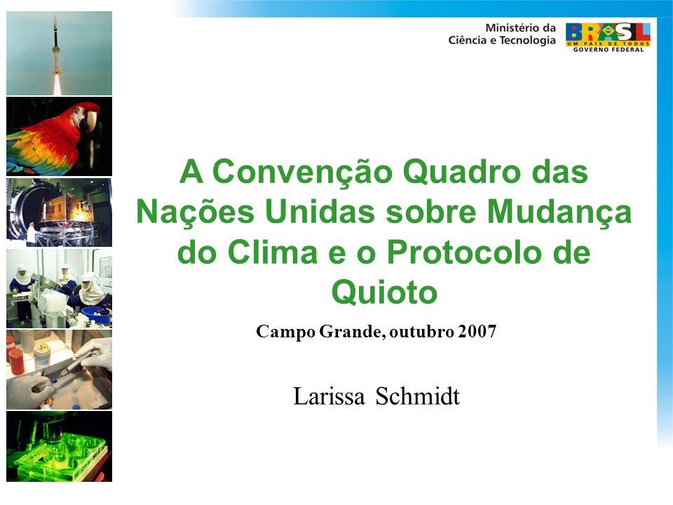 A Convenção Quadro das Nações Unidas sobre Mudança do Clima e o Protocolo de Quioto Campo Grande, outubro 2007 Larissa Schmidt