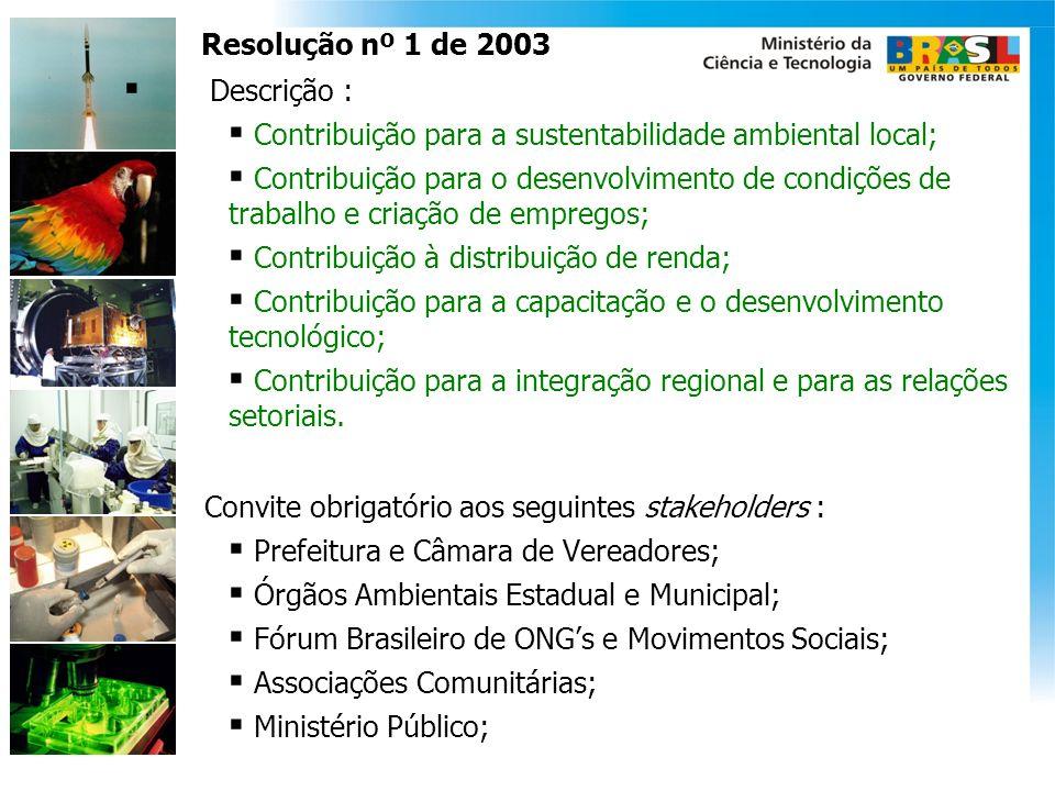 Resolução nº 1 de 2003 Descrição : Contribuição para a sustentabilidade ambiental local; Contribuição para o desenvolvimento de condições de trabalho
