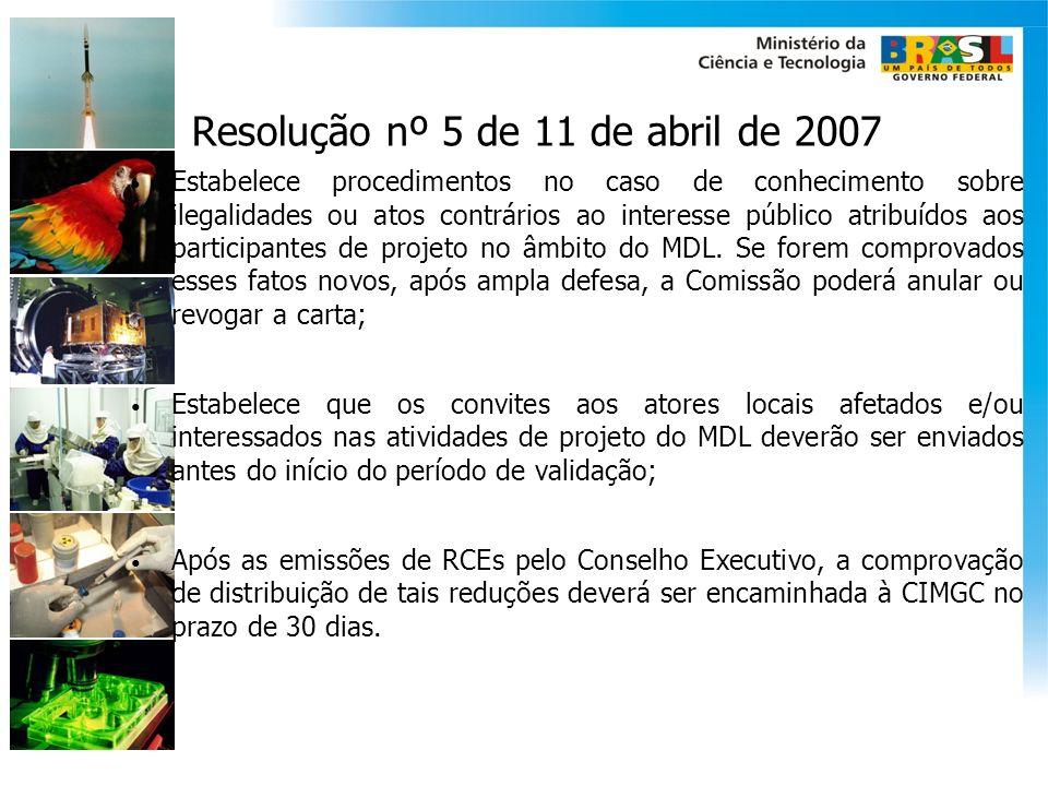 Resolução nº 5 de 11 de abril de 2007 Estabelece procedimentos no caso de conhecimento sobre ilegalidades ou atos contrários ao interesse público atri