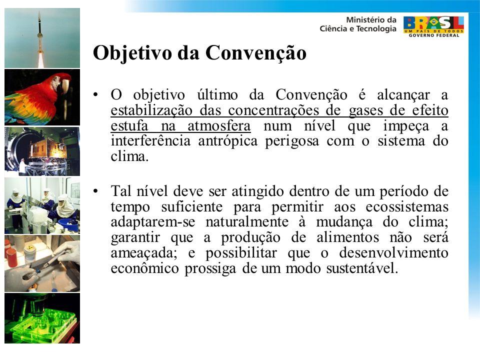 Objetivo da Convenção O objetivo último da Convenção é alcançar a estabilização das concentrações de gases de efeito estufa na atmosfera num nível que