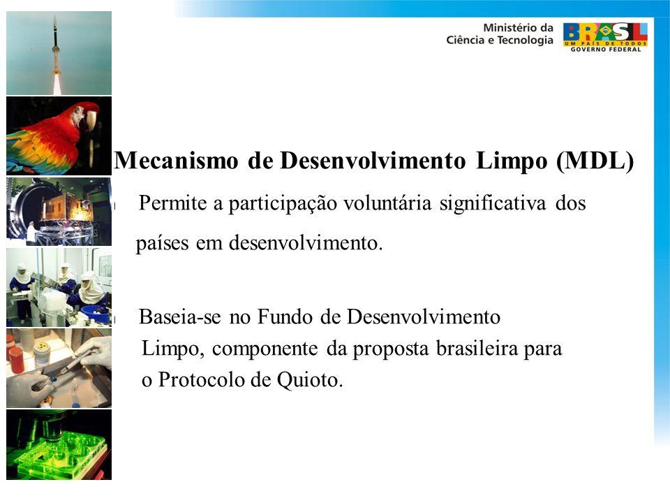 Mecanismo de Desenvolvimento Limpo (MDL) l Permite a participação voluntária significativa dos países em desenvolvimento. l Baseia-se no Fundo de Dese