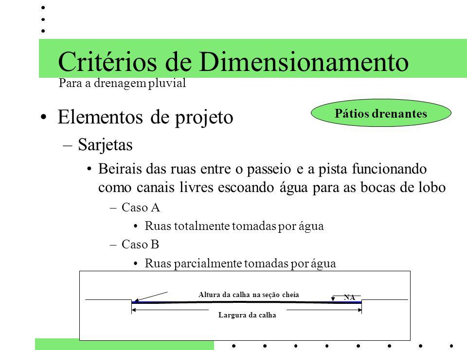 Critérios de Dimensionamento Elementos de projeto –Sarjetas Beirais das ruas entre o passeio e a pista funcionando como canais livres escoando água pa