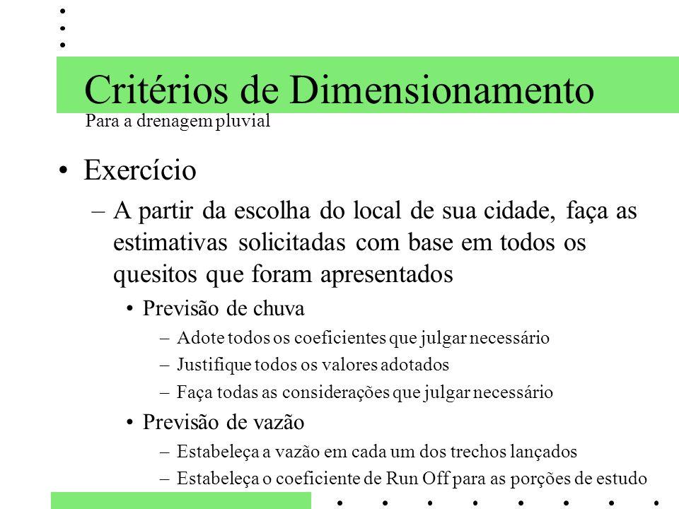 Critérios de Dimensionamento Exercício –A partir da escolha do local de sua cidade, faça as estimativas solicitadas com base em todos os quesitos que