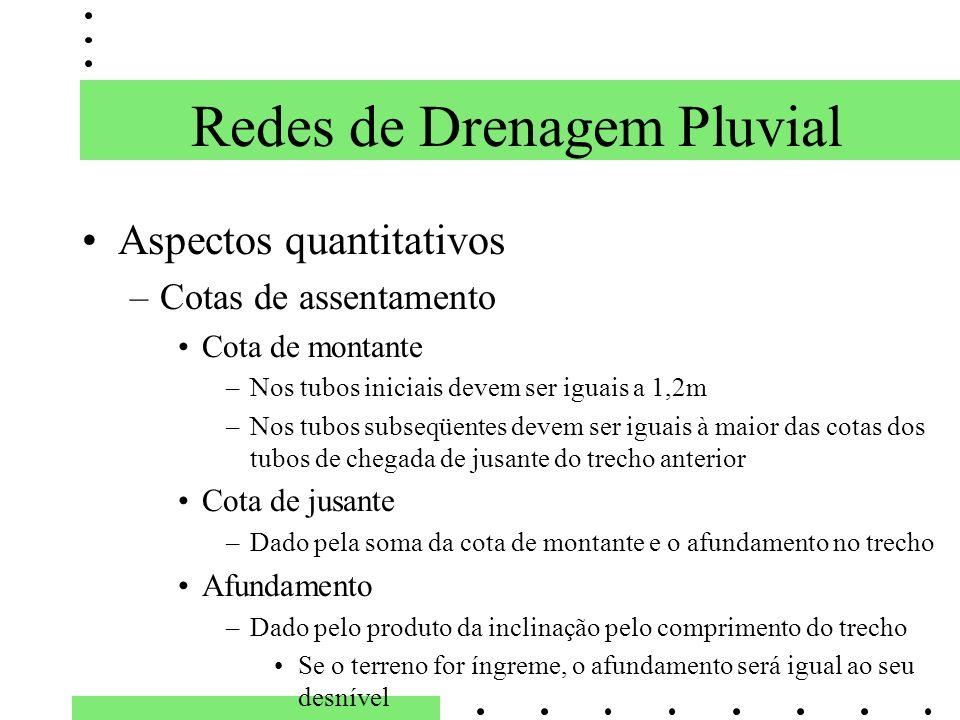 Redes de Drenagem Pluvial Aspectos quantitativos –Cotas de assentamento Cota de montante –Nos tubos iniciais devem ser iguais a 1,2m –Nos tubos subseq