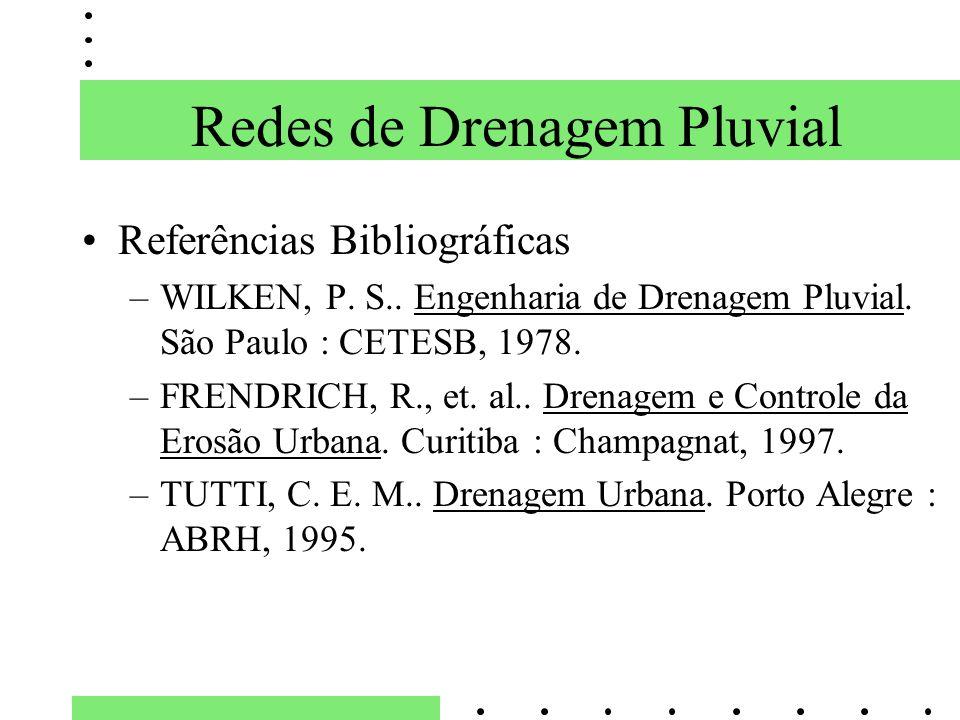 Referências Bibliográficas –WILKEN, P. S.. Engenharia de Drenagem Pluvial. São Paulo : CETESB, 1978. –FRENDRICH, R., et. al.. Drenagem e Controle da E