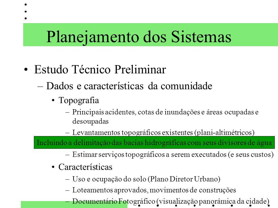 Planejamento dos Sistemas Estudo Técnico Preliminar –Dados e características da comunidade Topografia –Principais acidentes, cotas de inundações e áre
