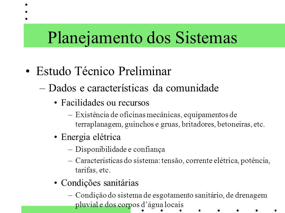 Planejamento dos Sistemas Estudo Técnico Preliminar –Dados e características da comunidade Facilidades ou recursos –Existência de oficinas mecânicas,