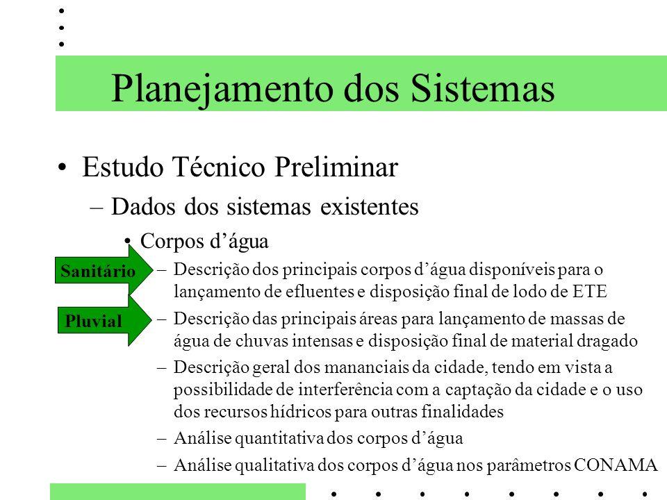 Planejamento dos Sistemas Estudo Técnico Preliminar –Dados dos sistemas existentes Corpos dágua –Descrição dos principais corpos dágua disponíveis par