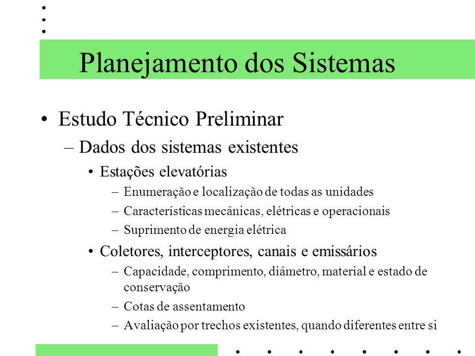 Planejamento dos Sistemas Estudo Técnico Preliminar –Dados dos sistemas existentes Estações elevatórias –Enumeração e localização de todas as unidades