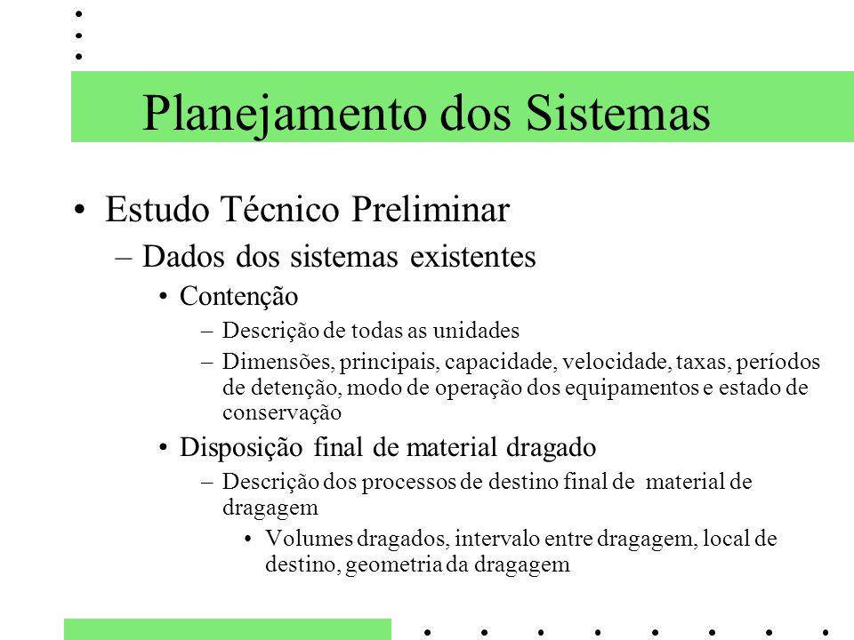 Planejamento dos Sistemas Estudo Técnico Preliminar –Dados dos sistemas existentes Contenção –Descrição de todas as unidades –Dimensões, principais, c