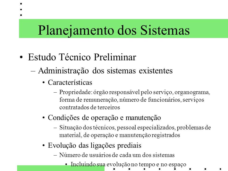 Planejamento dos Sistemas Estudo Técnico Preliminar –Administração dos sistemas existentes Características –Propriedade: órgão responsável pelo serviç
